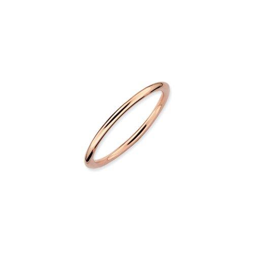 1mm 14k Rose Gold Plated Sterling Silver Polished Elegant Band Sz 7