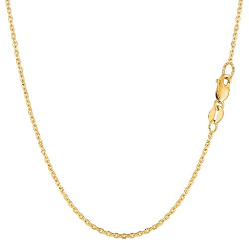 "14K Yellow or White Gold 1.4mm Shiny Diamond Cut Cable Link Chain Necklace for Pendants and Charms with Lobster-Claw Clasp (16"", 18"", 20"" or 24 inch)"