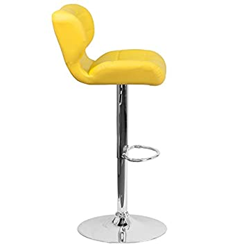 Flash Furniture 2 Pk. Contemporary Tufted Yellow Vinyl Adjustable Height Barstool with Chrome Base