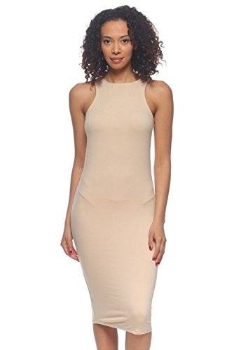 2LUV Women's Body-Con Sleeveless Midi Tank Dress Khaki M