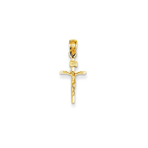 ICE CARATS 14kt Yellow Gold Small Inri Crucifix Cross Religious Pendant Charm Necklace Latin Fine Jewelry Ideal Gifts For Women Gift Set From Heart 14k Yellow Gold Mom Charm
