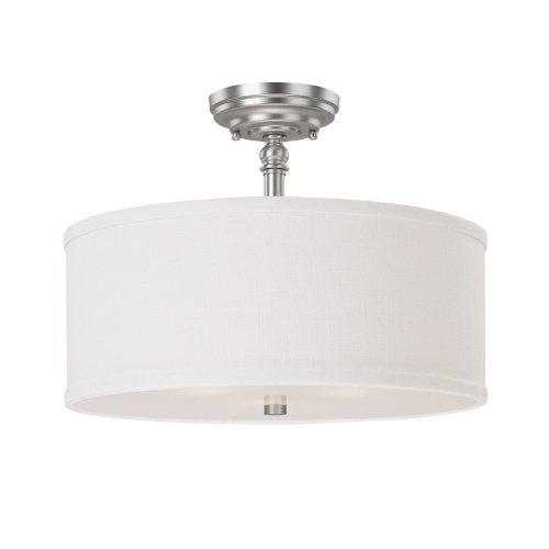 (Capital Lighting 3923MN-480 Semi-Flush Mount with White Fabric Shades, Matte Nickel Finish)