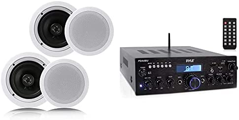 """Pyle Pair 6.5"""" Flush Mount in-Wall in-Ceiling 2-Manner Residence Speaker System Spring Loaded White & Wi-fi Bluetooth Energy Amplifier System – 200W Twin Channel Sound Audio Stereo Receiver"""