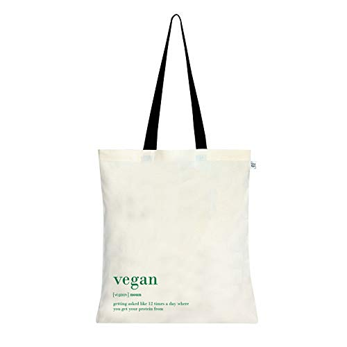 EcoRight Cotton Canvas Vegan Women Tote Bag Reusable Eco-friendly Printed Totes for Shopping School Work Gym Travel Beach, 15 x 16 inches