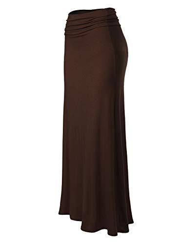 Skirt Americana - MixMatchy Women's Basic Foldable High Waist Regular and Plus Size Maxi Skirts Americano S