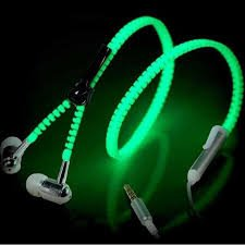 (Glow in the Dark Zipper Earbuds with Microphone Headphone Headset (Purple))