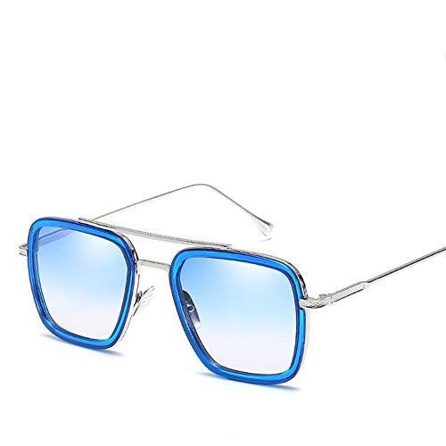 Ksone Retro Aviator Sunglasses Men Women Square Gold Metal Frame Aviation Tony Stark Shades Gradient Grey Lens Vintage Sunglasses (1) (Herren Square Aviator Sonnenbrillen)