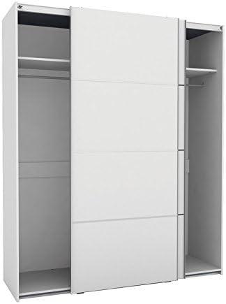 Armario Puertas correderas con altillo y Barra para Colgar Color Blanco 180x220cm: Amazon.es: Hogar