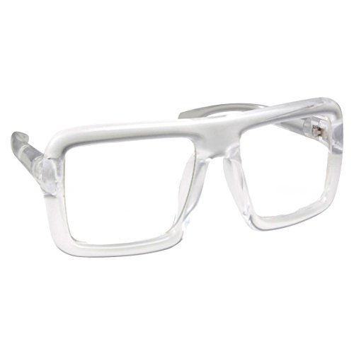 Thick Square Frame Clear Lens Glasses Eyeglasses Super Oversized Fashion and Costume - (Bob's Burgers Costume Tina)