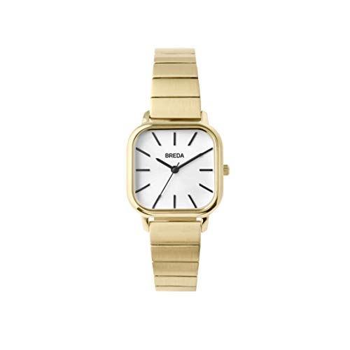 (BREDA Women's Esther 1735e Square Gold Wrist Watch with Gold-Plated Stainless Steel Bracelet,)