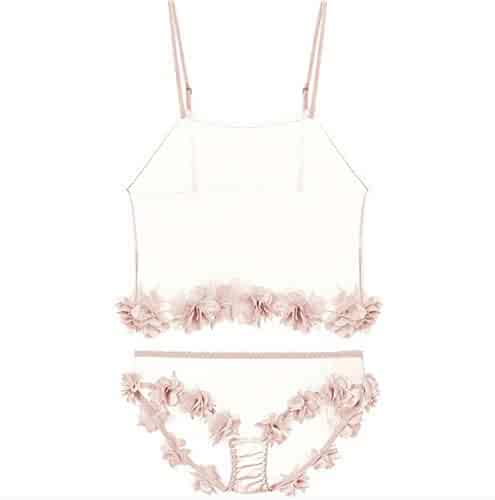 a0a1bf81e6 Flowers Bloom Sexy Pajamas Women Summer Ultrathin Net Yarn Temptation Pink  Girl Vest Shorts Stocking Necklace