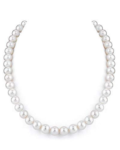THE PEARL SOURCE 14K Gold 9-10mm AAAA Quality White Freshwater Cultured Pearl Necklace for Women in 18