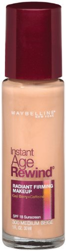 Maybelline New York Instant Age Rewind Radiant Firming Makeup, Medium Beige 300, 1 Fluid Ounce, Pack of 2