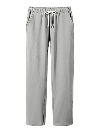 Women's Elastic Waist Comfort Fit Straight Leg Drawstring Cotton Pants Trouser Grey
