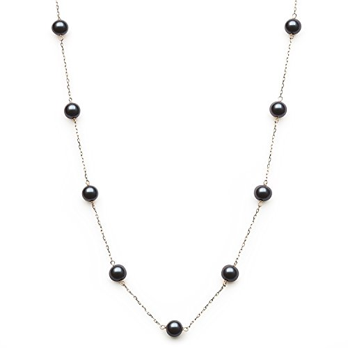 Tin Tahitian Pearl Cup (10kt Yellow Gold 6.0-6.5mm Black Cultured Freshwater Pearl Station Tin Cup Necklace,18