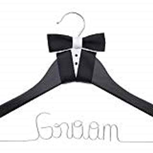 Ella Celebration Groom Hanger for Tuxedo or Suit, Hangers for Bridal Party, Wooden and Wire, Black Wood ()