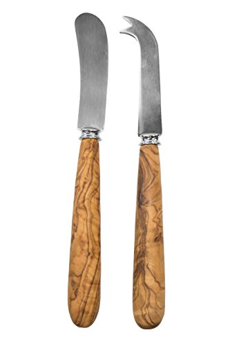 Tramanto Olive Wood Cheese Knife Set of Two in Gift Box, 8 Inches Long