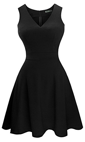 Classic Black College Short - Sylvestidoso Women's A-Line Sleeveless V-Neck Pleated Little Black Cocktail Party Dress (XS, Black)