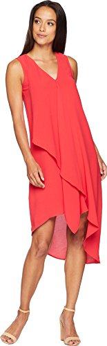 (Adrianna Papell Women's Asymmetrical Front Drape Dress, Geranium 2)