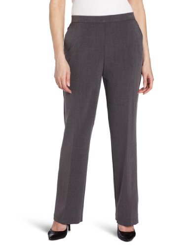 (Briggs New York Women's Pull On Dress Pant Average Length & Short Length, Heather Grey, 16)