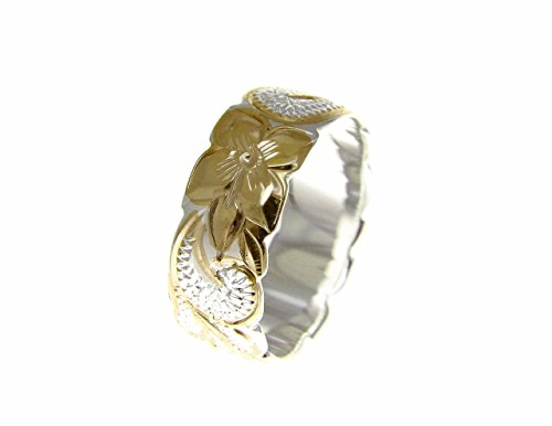 925 Sterling silver Hawaiian queen scroll yellow gold plated 2 tone cut out edge ring size 7