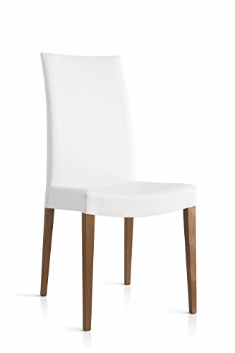 Connubia Cometa Upholstered Wooden Chair - Beech Walnut Frame - Ekos White Seat (Calligaris Chair Upholstered)