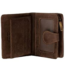Visconti Hunter 715 Mens Bifold Wallet with Zippered Coin Purse in Oil Brown Leather