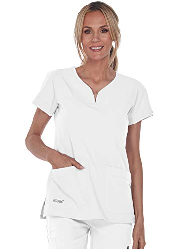 Scrub Top Nurse - Grey's Anatomy Signature Women's Two Pocket Notch Yoke Neck Scrub Top, White, Large