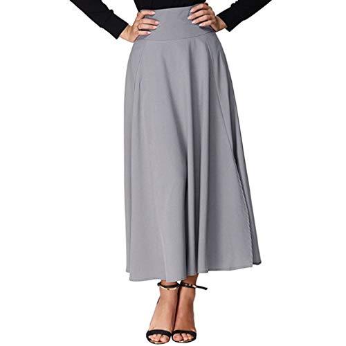 Babysbreath17 Femmes Taille Haute fendus Ceinture plisse Jupe Longue Solide Maxi Jupe Poche gris