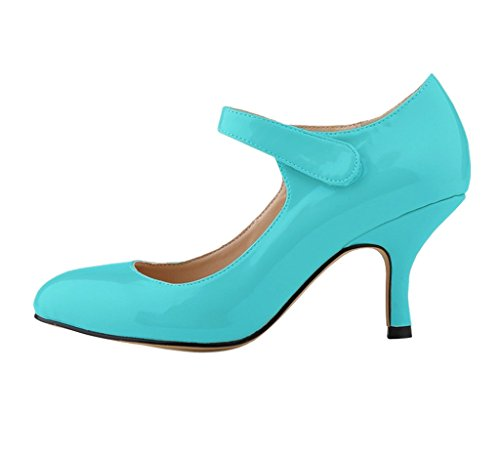 Katypeny Women's Retro Velcro Strappy Slip On Pointed Toe Multi Color Mid Heel Court Pump Shoes Sky Blue