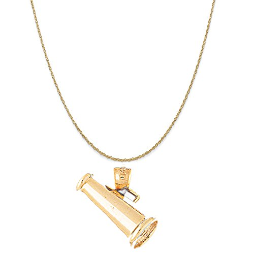 14k Yellow Gold 3-D Megaphone Pendant on a 14K Yellow Gold Rope Chain Necklace, 18