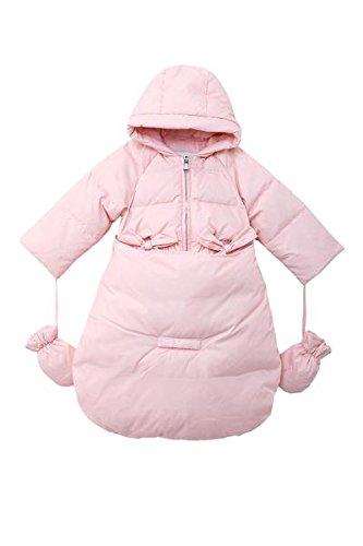 Oceankids Baby Girls Newborn Pram Down Bunting Snowsuit Detachable Bottom Pink 18M 12-18 Months (Pink Leopard Infant Costume)