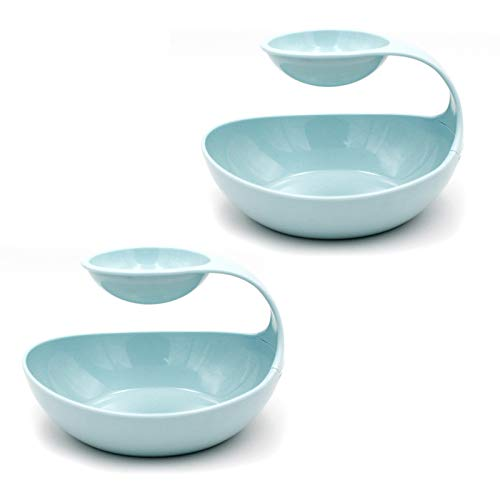 - Emall Life 2-Tier Oval Chip and Dip Serving Bowls Set of 2 Multifunctional ABS Platter Family Size White/Pink/Blue (Blue)