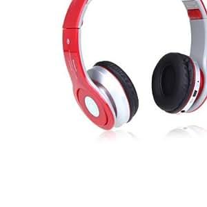 Andoer Plegable estéreo Auricular Inalámbrico con MicBluetooth Wireless TF FM para iPhone iPad PC Rojo