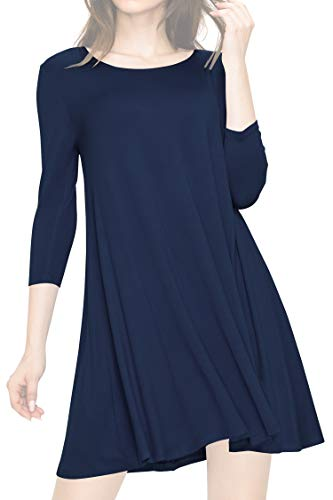 LL WDR930 Womens Round Neck 3/4 Sleeves Trapeze Dress with Pockets L NAVY -
