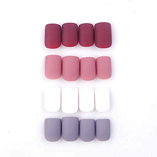 96Pcs Colorful Acrylic Nails Full Cover Short Square Matte False Gel Nails Art Tips Sets (Romantic Flowers)(Soft and Thin) -