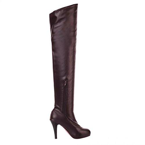 AIYOUMEI Damen Stretch Overknee Stiefel mit Reißverschluss und Plateau 10cm Absatz Langschaftstiefel Braun