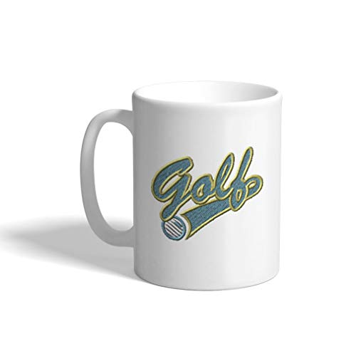 - Ceramic Funny Coffee Mug Coffee Cup Sport Golf Vintage Logo Blue White Tea Cup 11 Ounces