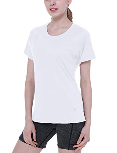 ChinFun Women's UPF 50+ UV Sun Protection T Shirts Workout Top Short Sleeve Shirts Rashguards Outdoor Performance Running Athletic Shirts Tee White Size XXL (Sun Resistant Shirts)