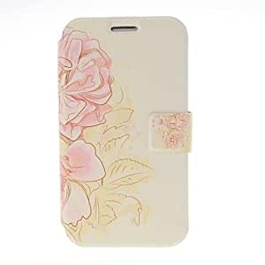 Pink Flowers Leather Case with Stand for Galaxy Note 2 N7100
