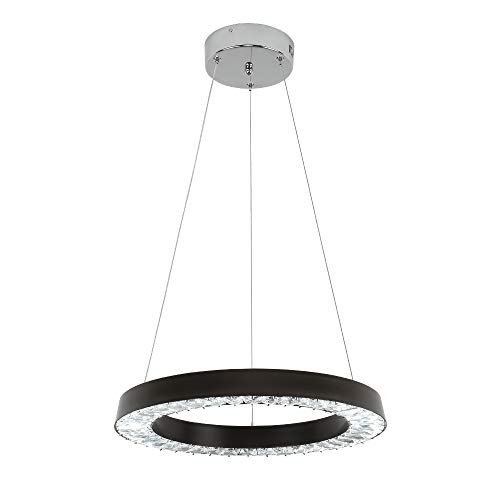 E Green Black Crystal Chandelier LED Crystal Pendant Light 36W LED 16 inch Round Pendant Light for Living Room Bedroom Restaurant Porch Dining Room Black