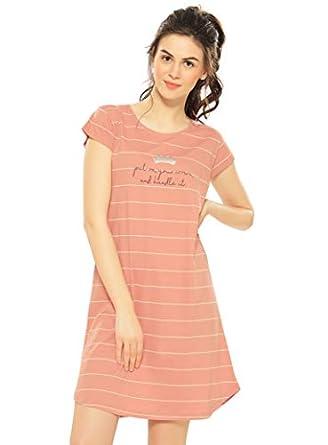 ZEYO Women's Cotton Striped Knee Length Nighty