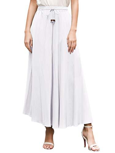 ORANDESIGNE Femme Jupe t Vintage Casual Chic Taille Haute Plisse Longue Jupes de Plage lastique Taille Unique Blanc