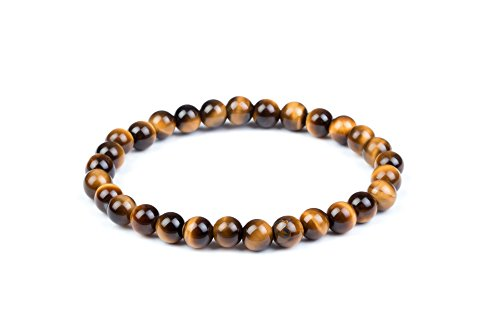 Tiger Brown Bracelet - Mens Womens 6-20mm Beads Brown Tiger Eye Beaded Lucky Gemstone Stretch Bracelet Unisex Wrist (6mm)