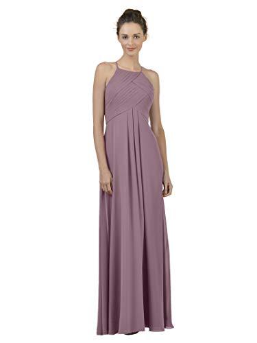 Alicepub Long Chiffon Bridesmaid Dress Maxi Evening Gown A Line Plus Party Dress, Mauve Mist, US8
