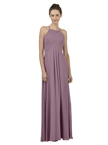 Bridesmaid A-line Bridal Dress - Alicepub Long Chiffon Bridesmaid Dress Maxi Evening Gown A Line Plus Party Dress, Mauve Mist, US10
