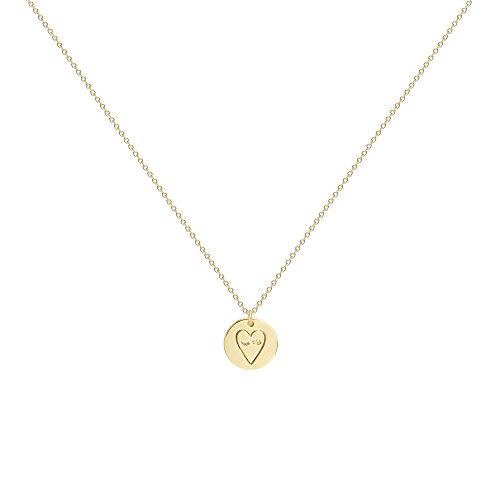 Befettly Women Pendant Necklace - 14k GoldPlated Disk Choker Necklace Engraved with Heart for Ladies & Girls