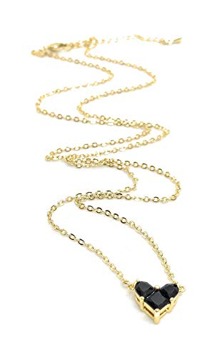 LESLIE BOULES Heart Necklace for Women Black Crystal Pendant 18K Plated Chain