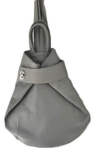 LaGaksta Stella Italian Leather Fashion Backpack Purse Top-Handle Shoulder Bag Grey ()