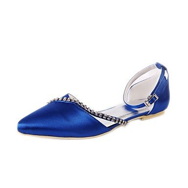 Basic Pointed Pump Best Silk Rhinestone Closed Heel 4U Blue for dark Toe Low Toe Spring Wedding Party Dark Wedding Women's Evening blue Summer Shoes Shoes prww7qYF0
